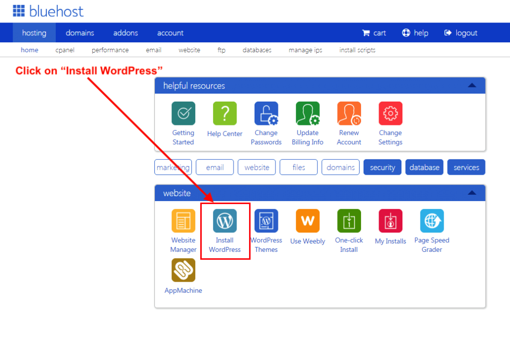 bluehost install wordpress on Cpanel